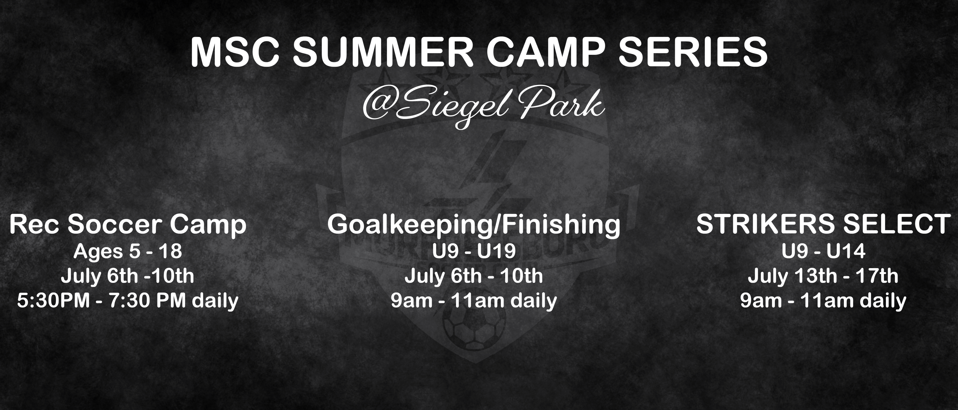 Summer Camp Dates Released!